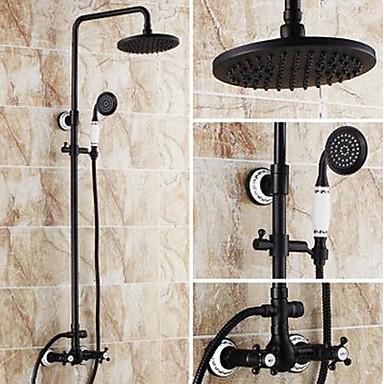 Shower Faucet - Antique Oil-rubbed Bronze Tub And Shower Ceramic Valve Bath Shower Mixer Taps / Brass / Two Handles Three Holes