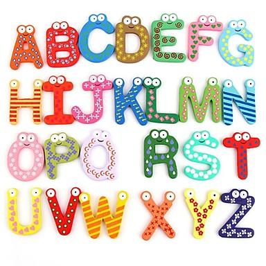 Смешные Магнитные Алфавит 26 Письма Деревянный магниты на холодильник Обучающие Детские игрушки (26-Pack)