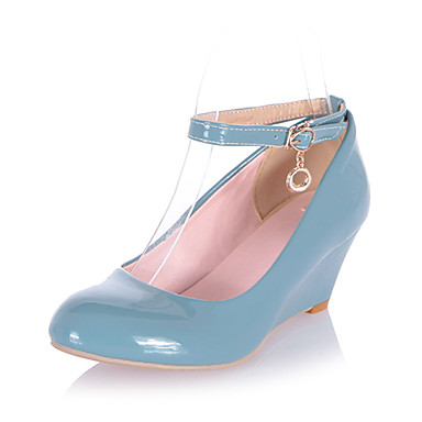 Women's Spring Summer Fall Winter Leatherette Office & Career Dress Wedge Heel Black Blue Green Pink White Beige