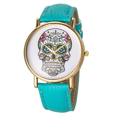 Women's Fashion Watch Quartz Casual Watch PU Band Skull Black White Blue Red Brown Green Yellow Rose