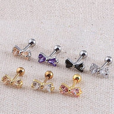 Lureme® 316L Surgical Titanium Steel Zircon Bowknot Single Stud Earrings Christmas Gifts