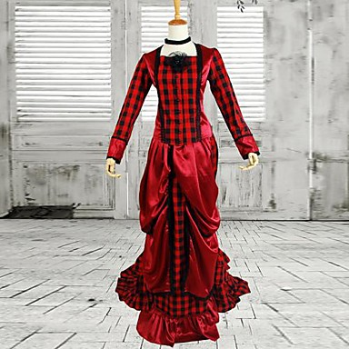 Medieval Victorian Costume Women's One Piece Dress Red Vintage Cosplay Cotton Long Sleeves