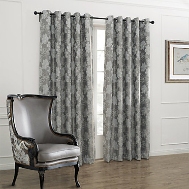 Stang Houder Pakkingring Bovenkant Tab Bovenkant Dubbel Geplooid Twee panelen Window Behandeling Landelijk, Jacquard Slaapkamer Polyester