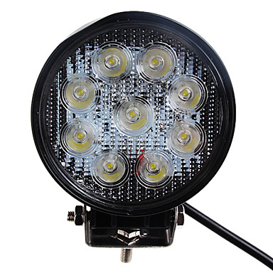 27W 1680LM 6000K Round Car LED Work Light Waterproof Flood Beam Lamp for 4WS SUV Truck (DC9-32V)
