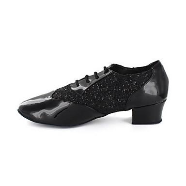 Heren Moderne dansschoenen Kunstleer Oxford Blokhak Niet aanpasbaar Dansschoenen Zwart / Zilver / Goud
