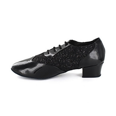 Men's Modern Leatherette Oxford Chunky Heel Black Silver Gold Non Customizable