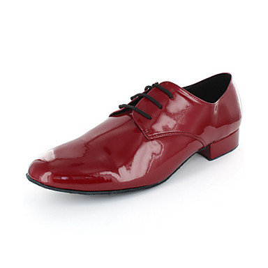 Men's Modern Leatherette Oxford Chunky Heel Red Non Customizable