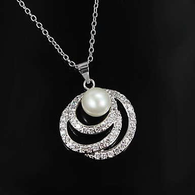 Indie styl mosaz postříbřená s imitací Pearl Dámský náhrdelník