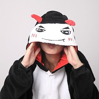 Kigurumi pyjamas met pantoffels Duivel / Monster Onesie pyjamas Kostuum Knuffelfleece Cosplay Voor Volwassenen Dieren nachtkleding