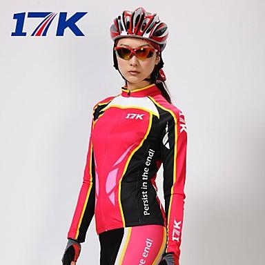 Mysenlan Pentru femei Manșon Lung Jerseu Cycling cu Mâneci - Rosu Bicicletă Set de Îmbrăcăminte, Keep Warm, Uscare rapidă, Rezistent la