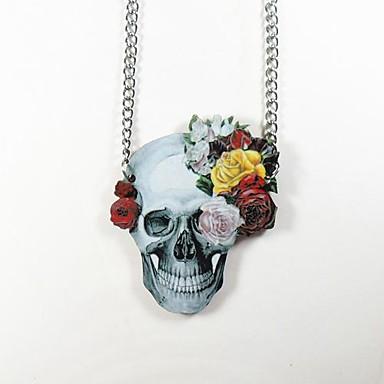 Skull Pattern Wood Necklace