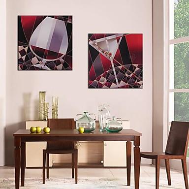 Lærredstryk Art Red Wineglass Sæt med 2