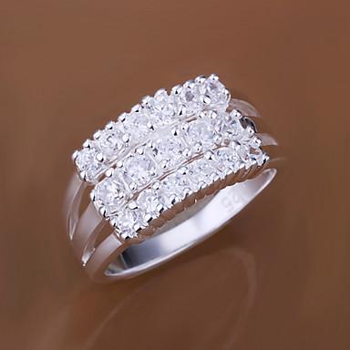 Mulheres Zircão / Zircônia Cubica / Prata Chapeada Anel de declaração - Personalizada / Fashion Prata Anel Para Casamento / Festa