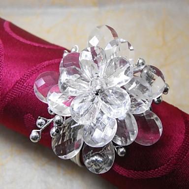 Crystal Beads blomst I Multi Color Servietring, Akryl Beades, 3.5cm, sæt af 12,