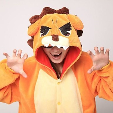 Erwachsene Kigurumi-Pyjamas Löwe Pyjamas-Einteiler Korallenfleece Orange Cosplay Für Herren und Damen Tiernachtwäsche Karikatur Halloween Fest / Feiertage