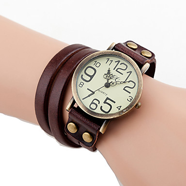 Herrn Damen Quartz Armbanduhr Modisch Leder Band Freizeit Schwarz