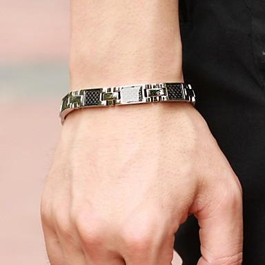 Black Gallstone Anti-fatigue Titanium Steel Health Care Bracelet for Men Jewelry