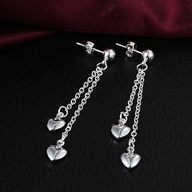 Lucky Doll 925 sølv hjerte-formede Lange Øreringe