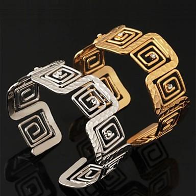 Damen Synthetischer Diamant Krystall Strass vergoldet Manschetten-Armbänder Armband - Modisch Silber Golden Armbänder Für Hochzeit Party