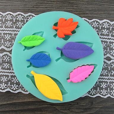 Zes bladeren Shaped Bake fandant schimmel, L10cm * W10cm * H1.4cm