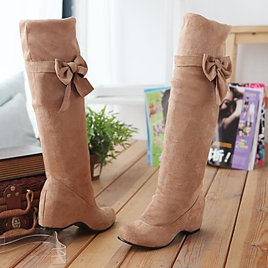 Women's Fall / Winter Riding Boots Suede Casual Wedge Heel Bowknot Black / Brown / Yellow / Beige