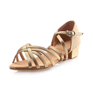 baratos Shall We® Sapatos de Dança-Mulheres Sapatos de Dança Cetim Sapatos de Dança Latina Presilha Sandália Salto Robusto Não Personalizável Dourado