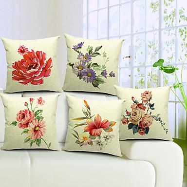 5 pcs Cotton/Linen Pillow Cover, Floral Country