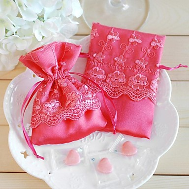 Cuboid Silk Favor Holder With Laces Favor Bags-12 Wedding Favors