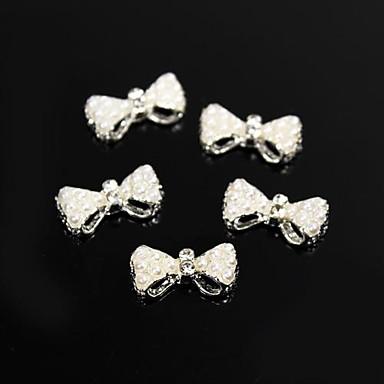 10 buc margele albe în stil perla papion aliaj 3d decorare unghii
