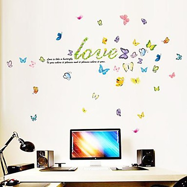 Letter Love And  Butterflies Fashionable Plastic Wall Stickers(1pcs)