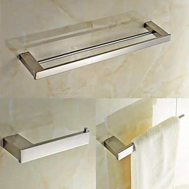 Bathroom Accessory Set High Quality Contemporary Stainless Steel 3pcs - Hotel bath tower bar Toilet Paper Holders