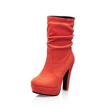 Для женщин Обувь Весна Осень Зима На толстом каблуке Платформа Сапоги до середины икры Назначение Для праздника Черный Коричневый Зеленый