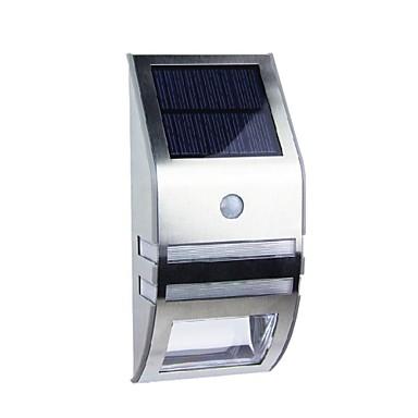 2-LED White Stainless Steel Solar Wall Light With PIR Motion Sensor