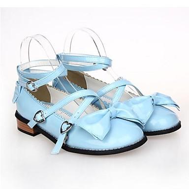 Schuhe Gothik Niedlich Klassische / Traditionelle Lolita Flacher Absatz Schuhe Schleife 2.5 cm CM Blau / Rosa / Fuchsia Für PU - Leder / Polyurethan Leder Halloween Kostüme