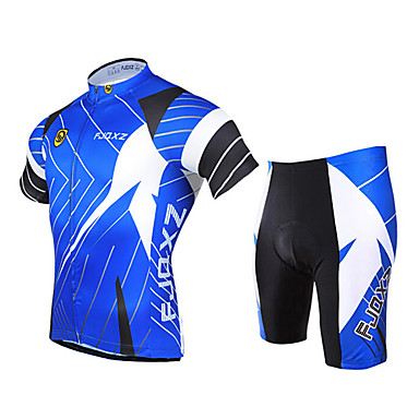 FJQXZ Men s Short Sleeve Cycling Jersey with Shorts - Blue Bike Clothing  Suit Breathable 3D Pad Quick Dry Ultraviolet Resistant Sports Polyester  Patchwork ... e67cdcac1