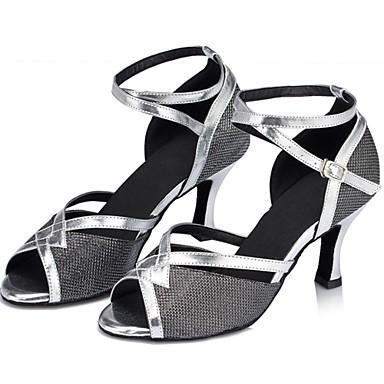 Damen Schuhe für den lateinamerikanischen Tanz Glitzer Sandalen Schnalle Blockabsatz Keine Maßfertigung möglich Tanzschuhe Schwarz / Silber / Gold