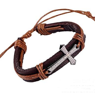 Heren Wikkelarmbanden Lederen armbanden Leder Legering Kruisvorm Sieraden Voor Feest Dagelijks