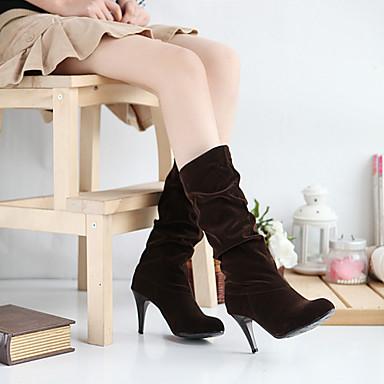 Dames Schoenen Suède Lente Herfst Winter slouch boots Naaldhak Kuitlaarzen Voor Formeel Zwart Bruin