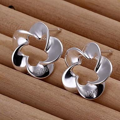 Серьги-гвоздики Стерлинговое серебро Серебрянное покрытие Мода В форме цветка Серебряный Бижутерия Для вечеринок Повседневные