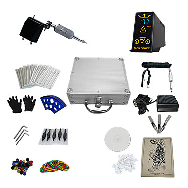 1 Gun Complete No Ink Tattoo Kit with Black Plastic Motor Machine