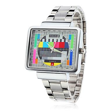 Buy Men's Watch Dress TV Pattern Square Case Steel Band Wrist Cool Unique Fashion