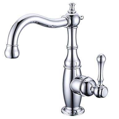 Античный По центру Вращающийся Керамический клапан Одно отверстие Одной ручкой одно отверстие Хром, Ванная раковина кран