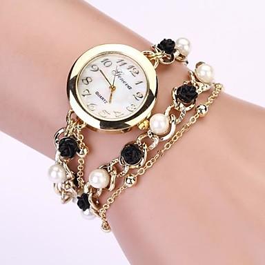 Damen Armband-Uhr Quartz Imitation Diamant Metall Band Analog Perlen Modisch Elegant Schwarz - Schwarz Ein Jahr Batterielebensdauer / Tianqiu 377