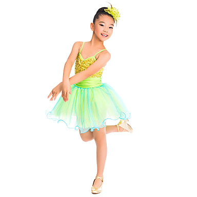 Kids' Dancewear Dresses Training Spandex Tulle Sequin
