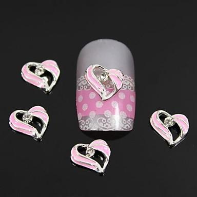 10 buc moda pietre roz aliaj de inima decorare unghii