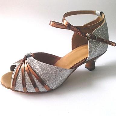 Damen Schuhe für den lateinamerikanischen Tanz Glitzer Sandalen Maßgefertigter Absatz Maßfertigung Tanzschuhe Rosa / Silber