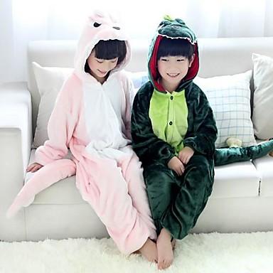 Пижамы кигуруми Динозавр Цельные пижамы Костюм Фланель Флис Зеленый / Розовый Косплей Для Детские Нижнее и ночное белье животных