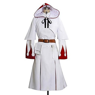Вдохновлен Final Fantasy White Mage видео Игра Косплэй костюмы Косплей Костюмы С принтом Белый ДлинныеПлатье / Воротник-шаль / Пояс /