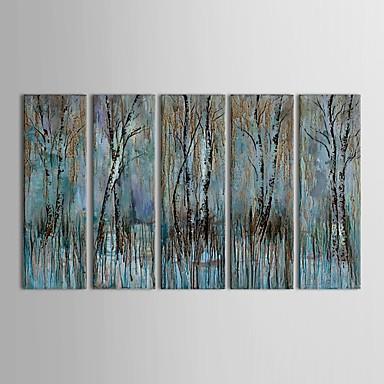 preiswerte Wand- & Ölbilder-Handgemalte Abstrakt Horizontal Panorama Segeltuch Hang-Ölgemälde Haus Dekoration Fünf Panele