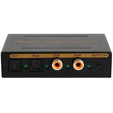 digital analog audio Convertor 4 porturi convertor audio, 2 + 2 SPDIF de intrare coaxial, de ieșire de comutare lr /3.5mm / SPDIF